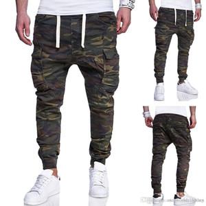Camuflaje lápiz bolsillos de los pantalones ocasionales de los pantalones Sweatpants Diseño del diseñador del Mens del basculador
