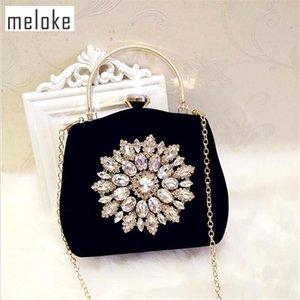 Meloke 2019 New Diamond Sun Flowers Bolsas de noche Bolsas de embrague de boda de lujo para niñas Bolsas de cena de fiesta con cadena Mn861MX190824