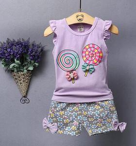 2019 Новый летний стиль детей Lollipop с рисунком шорты из двух частей костюм девушки моды Тонкий срез хлопчатобумажной одежды