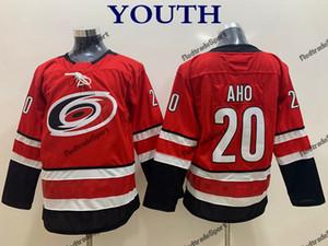 2018 Youth Sebastian Aho Carolina Hurricanes Hockey Jersey Bambini New Boys Home Red # 20 Sebastian Aho Maglia Hockey cucita