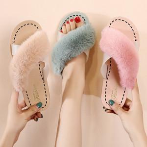 Herbst und Winter neue koreanische Version Warm Versatile Fairy Style Cross Einzel Designer Wohnung Slipper Frauen tragen Mode Pelz Slipper