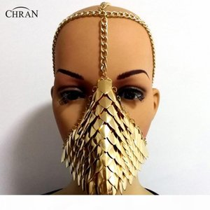 Chran Chainmail Mask Bra Scalemail Shoulder Armor Cosplay Burning Man Headdress Head Chain Headband Medieval Ren Faire Jewelry