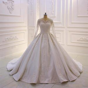 2020 Nouvelle robe de bal Robes de mariée en dentelle perles Applique Robes de Mariée avec Bouton à manches longues Retour balayage train personnalisé BC2417