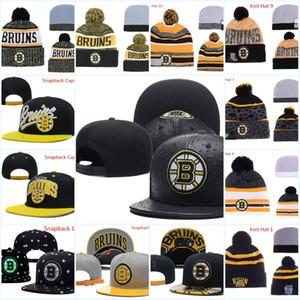 Bruins de los casquillos del Snapback ajustable del sombrero blanco Negro Rojo Gris Bruins Gorro de lana hockey beanies Caps