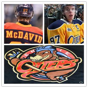 Custom CCM Authentic Hockey Maglie Erie Otters Home Blu Bianco Cheap # 97 Connor McDavid Cucito Loghi ricamati