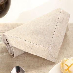 "Servilletas de lino dobladas Servilletas de mesa naturales Paño bordado hermoso 45x45cm (17.7x17.7 "") 12PCS / lot"