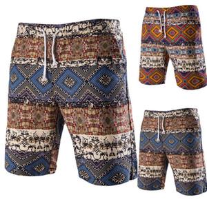 Shorts Hommes Imprimé Cordon Vintage Ethnique Hommes Shorts Décontractés Été Coton Bermudes Streetwear Shorts Hommes Hawaiian