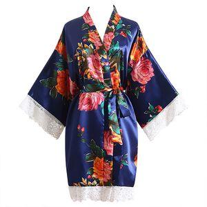 المرأة مثير الرباط الفاوانيا flowerblossom كيمونو تضميد ثوب حمام رداء ملابس العروسة الجلباب الرداء فام e1