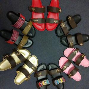 2020 Luxus-Designer-Frauen Slides Sandale Bom Dia Flach Mule Slipper Patent Leinwand Männer Frauen Strand Slides Gummi Soles Sommer-Flipflops 35-46