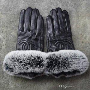 2019 guanti di cuoio di inverno di marca Premium e pile touch screen del coniglio del rex bocca pelliccia Guanti dita di pecora sub termica a prova di freddo