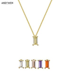 ANDYWEN Argent 925 vert clair collier pendentif petits Charms femmes Luxe Cristal Femmes Luxe Jewellry Pour Valentiens