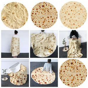 Tortilla Battaniye Harf Baskı Kilim Yuvarlak Börek Küçük Halı 3D Baskılı Klima Battaniye Yatak Atma Battaniye Banyo Havlu LXL972Q