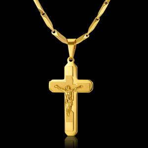 Ожерелье Mens Золотой крест цепи мужчина ожерелье Christian ювелирные изделия Религиозные Иисус Распятие Крест для женщин / мужчин, Neckless