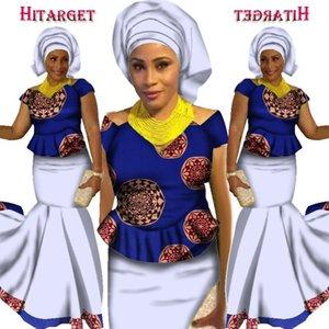 2019 новый комплект юбок Африканская дизайнерская одежда традиционный Базен принт Riche плюс размер юбки вечерняя одежда Kanga WY1590