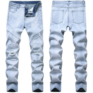 Men's Ripped Distressed Destroyed Stretch Skinny Slim Fit Washed Jeans New Fashion