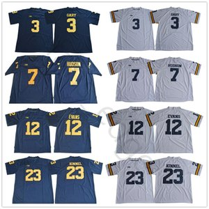 NCAA Michigan Wolverines 3 Rashan Gary 7 Khaleke Hudson 12 Chris Evans 23 Tyree Kinnel 4 Jim Harbaugh Blu Bianco College Football Jerseys