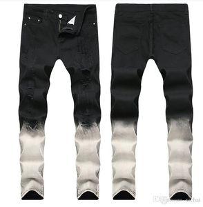 Big Size 2019 Spring mens Gradation Black White Jeans Fashion Designer Ripped Slim Fit casual Straight Leg Denim Pants Trousres QKN1866