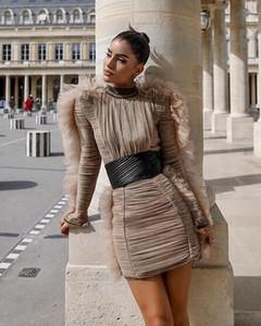 Avrupa Tide yepyeni moda İnce kuşak standı yaka dantel kollu örgü gazlı bez dikiş Retro elbise katlamak