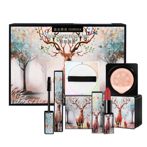 5pcs / set Elk Makeup Set Lippenstift Loose Powder Mascara BB Creme Kleine Pilz-Luftpolster-Lippenstift-Verfassungs-Set