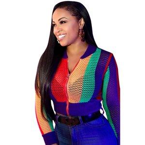 2018 Nouvelle Mode Sheer Mesh Jacket Femmes Manches Longues Contraste Couleur Zipper Manteau Court Casual Léger Bomber Veste Survêtement