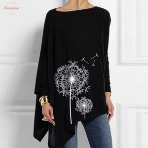 Dandelion Print Tunic Female Plus Size 5Xl Vintage Womens Cotton T Shirt Casual Irregular O Neck Long Sleeve Womens Shirt