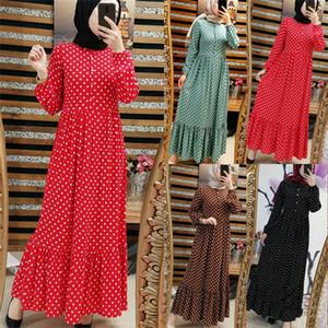 Dromiya Abayas manches longues femmes Taille Plus 5XL Robe Muslim Dot Kaftan Malaisie Turquie Kaftan vêtements islamiques Robe Dubaï