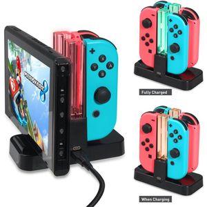 4 en 1 cargador del regulador para el interruptor Nintendo / Pro Controller alegría-con base de carga estación de LED Indicador de carga para el N-Switch
