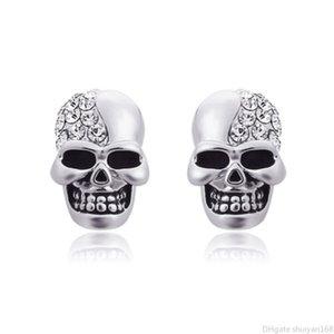Punk Skull Boucles d'oreilles en cristal strass pour Femmes Hommes Vintage Couple Skeleton Boucles d'oreilles Hip Hop oreille Goujons Bijoux Cadeaux Halloween