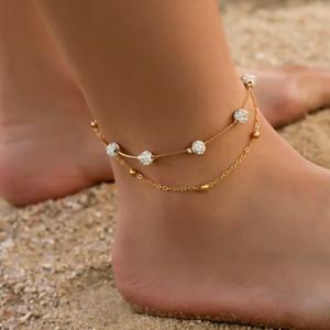 Bacak Kadın Bohemia 2adet / Kadınlar Ayak Aksesuarları için belirlenen Halhallar 2020 Yaz Plaj Barefoot Sandalet Bilezik Bilek