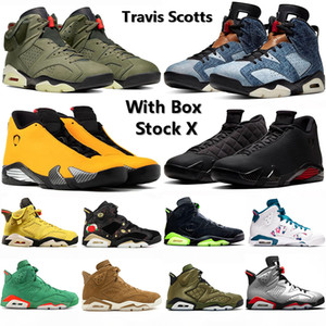 2020 con la casella Stock X 6 6s Travis Scotts scarpe da basket 14 14s SE Nero Candy Cane denim lavato CNY VI XI del progettista del Mens Sport Sneakers