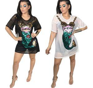 elbise Ms Denizkızı Pullu Mesh kısa kollu Siyam Etek Yuvarlak boyun Seksi Kalem yeni stil etek