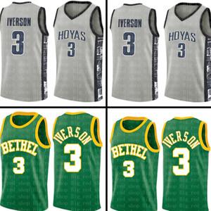 lise Allen 3 Iverson Yeşil Jersey üst Mens Üniversitesi Gri Ucuz toptan Basketbol Formalar Nakış Logolar S-XXL