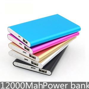 banco de energia móvel portátil ultra-fino ultra-fina banco de energia móvel 12000mAh 2USB porta carregador para tablet telefone celular carregador de PC de emergência