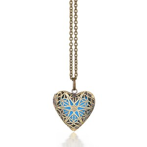 Pieced Vintage Antique Star Heart Perfume Essential Oil Diffuser Heart Necklace Locket Pendant Aroma Aromatherapy Necklace