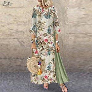 Женщины Осень Платье Плюс Размер Новая Мода Старинные Печати Цветочные Повседневные Платья 3 Рукава O Шеи Свободные Макси Летнее Платье 2020 M840