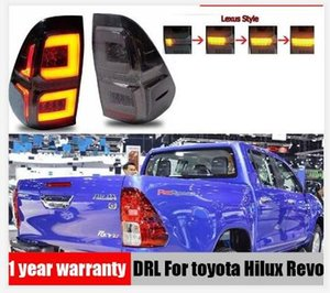 1pair Car fumo LED Taillights Para a Toyota Hilux SR5 Revo M70 2015 2016 2017 Luzes da cauda 2018 Styling freio traseiro Lâmpada Driving DRL