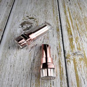 Leere transparente LipTube Rose Gold Lippenstift Tube getaucht Finish Lip Container DIY leeren Lippenstift Kosmetik-Container