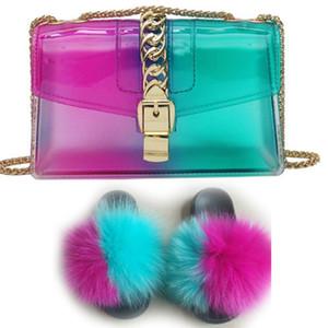 Pelliccia diapositive e borse Furry pantofole per le donne Pantufas Feminina Pelucia Fluffy sandali e borsa Set morbida suola piatta lusso Slides