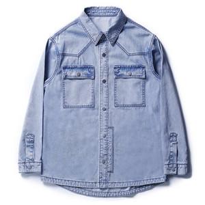 Primavera New Style Denim Jacket estilo japonês Brasão Loose-Fit não-Elasticidade Inglês por letras bordado Versitile Moda Masculina