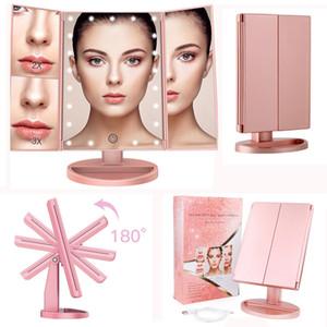 Зеркало для макияжа Косметическое зеркало с подсветкой 22 LED Trifold Зеркала Сенсорное управление 1x / 2x / 3x увеличение Два источника питания Cosmetic Освещенные зеркало