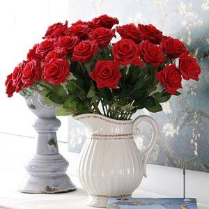 15pcs / lot fiori artificiali rosa panno di seta fatti a mano per la decorazione della tavola della pianta finta decorativa festa a casa di nozze