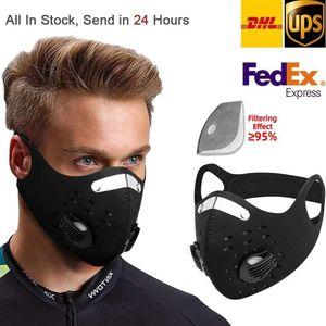 US Stcok Radfahren Schutzmaske mit Filter Aktivkohle PM2.5 Anti-Pollution Sport Running Training MTB Straßen-Fahrrad-Maske