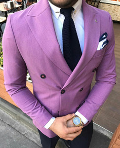Light Purple 2 Pieces Mens Suits Fashion Mens Floral Blazer Designs Mens Paisley Blazer Slim Fit Suit Jacket Pants Men Wedding Tuxedos