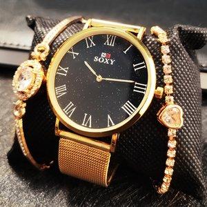 2020 soxy Gioielli netto Belt Watch Combinazione Oro Marca Donna vigilanza di modo Orologi da polso maglia del signore Clock