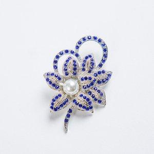 Gümüş Ton Kadınlar Dans Partisi Aksesuar Pearle Broş iğneler Nefis Yaka Rhinestone Çiçek Pin Broş