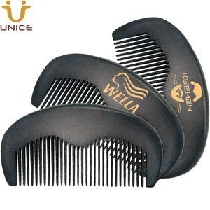 OEM 50pcs / lot personalizado Black Wood Combs Laser gravado Imprinted LOGO Cabelo Combs Negros Cor Barba Pente para cavalheiros Barber Gift Shop