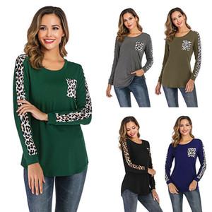 Mulheres Leopard retalhos T-shirt bolso Outono mangas compridas pullover Casual o-pescoço Tops Roupa O pescoço shirts OT LJJA3147