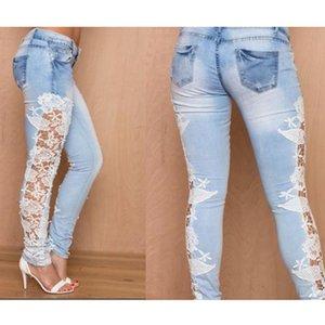Bigsweety Women Jeans Stretch Lace Floral Side Spliced Denim Trousers Hollow Out Slim Pencil Pants Women Jeans Femme Pantalo