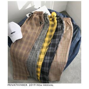 Privathinker Hombres Mujeres Pantalones casuales a cuadros negros coreanos 2019 Pantalones de harén Streetwear para hombre Pantalones a cuadros masculinos talla grande SH190901