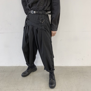 Male Vintage Hip Hop Wide Leg Trousers Men Japan Streetwear Punk Gothic Bandage Casual Harem Pant Stage Clothing Kimono Pant